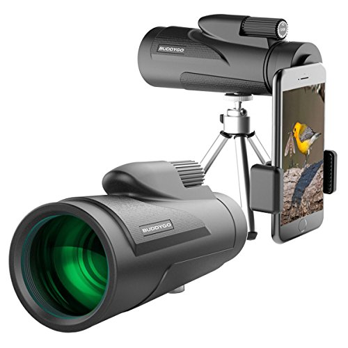 Monocular Telescope by BUDDYGO - 12x50 High Power Prism Scope and Quick Smartphone Holder - Waterproof Shockproof Scope Telescope for Bird Watching Hunting Hiking Camping Travelling Surveillance