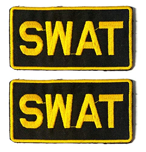 SWAT - Novelty Duty - Iron-on 2x4 Embroidered Patch Two Pack Combo, Gold Thread (Swat 4 Gold)
