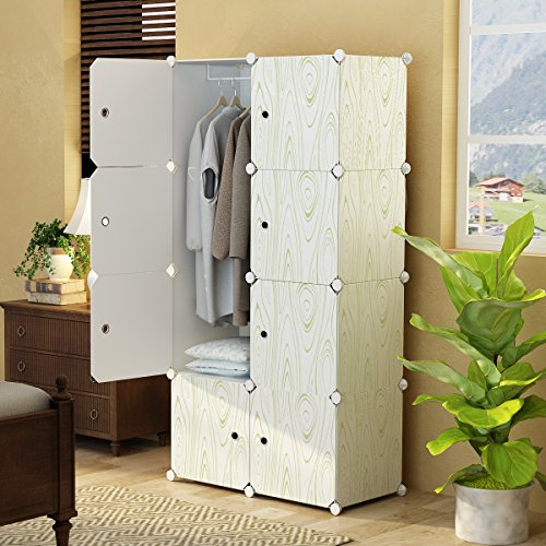 KOUSI Portable Closet Clothes Wardrobe Bedroom Armoire Storage Organizer with Doors, Capacious & Sturdy. 5 Cubes+1 Hanging Section,White with Wood Grain Pattern (Closet 1)