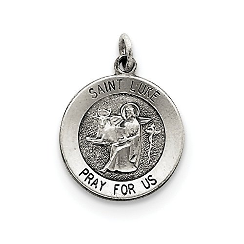 Antiqued Saint Luke Medal In 925 Sterling Silver - Stores Lukes St