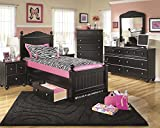 Jaidyn Youth Wood Poster Storage Bed Room Set in Rich Black Finish, Twin Bed, Dresser, Mirror, Nightstand, Chest