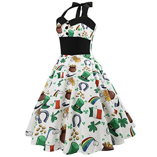 Huhu833 50s Retro Vintage Kleid Blumen Drucken Ärmelloses Halfter ...