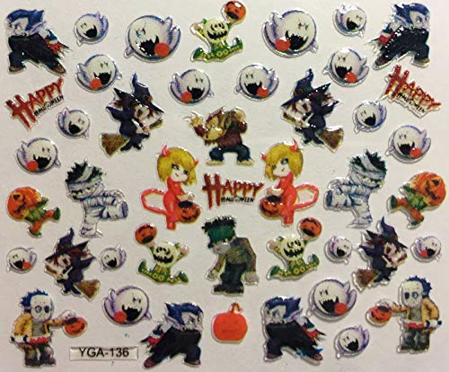 Nail Art 3D Decal Stickers Halloween Witch Zombie Devil Werewolf Ghost