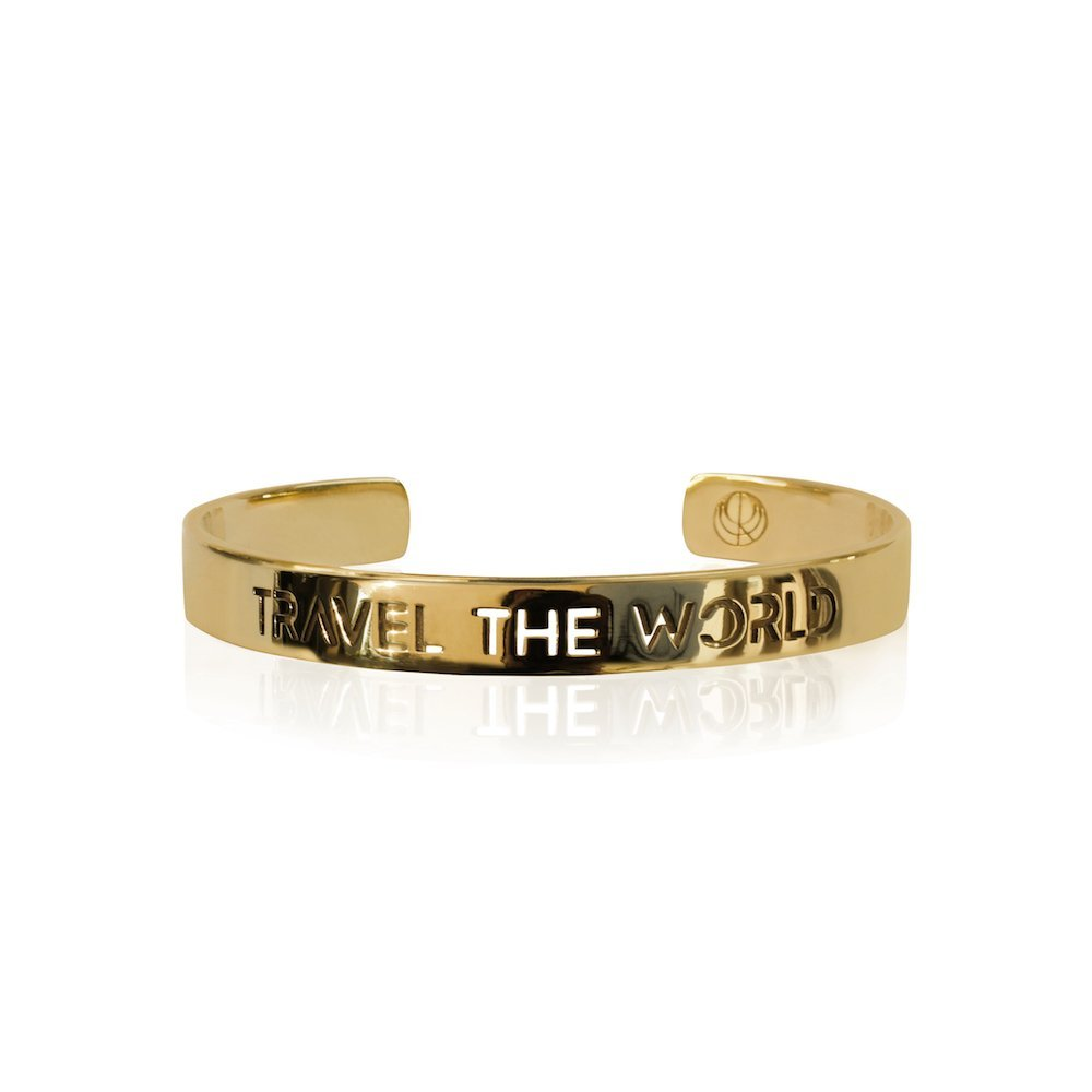 TRAVEL THE WORLD Bangle 24K Gold Plated Stainless Steel Bracelet