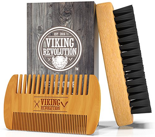 BEST DEAL Beard Brush and Comb Set for Men - Natural Boar Bristle Brush and Dual Action Pear Wood Comb w/ Velvet Travel Pouch - Great for Grooming Beards and - For Face Round Beard