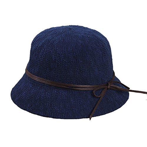 SUPERCB Women's Vintage Wool Felt Cloche Bucket Bowler Hat Winter Crushable Bowknot Navy (Crushable Bucket Hat)