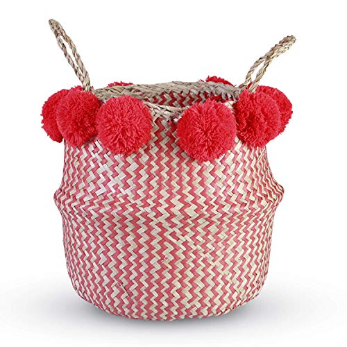 HandyMake Seagrass Belly Basket - 10 Basket Planter Styles in Small, Medium or Large for Home Décor, Laundry, Storage, Toy Organizer, Picnic, Nursery Hamper Use (Seagrass Zigzag Plush Red, Large)