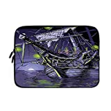 Pirate Ship Laptop Sleeve Bag - Neoprene Sleeve Case Ghost Ship on Fantasy Caribbean Ocean Adventure Island Haunted Vessel Decorative for Apple MacBook Air Samsung Google Acer HP DELL Lenovo As