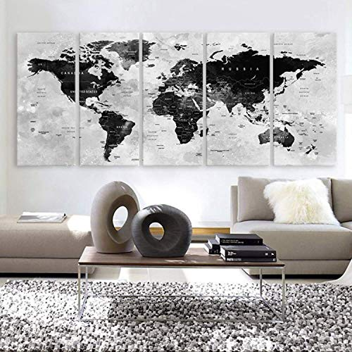 Original by BoxColors XLARGE 30quotx 70quot 5 Panels 30quotx14quot Ea Art Canvas Print Watercolor Map World Countries Cities Push Pin Travel Wall color Black White Gray decor Home interior framed 15quot depth