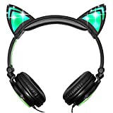 Teetox Cat Ear Headphones Kids Headphones Blinking Fashion Glowing Cosplay Fancy Foldable Over-Ear Gaming Headsets with LED Light for iPhone6s,6s Plus,Android,iPad and Computer,Green