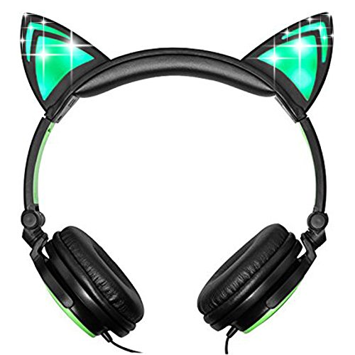 Teetox Cat Ear Headphones Kids Headphones Blinking Fashion Glowing Cosplay Fancy Foldable Over-Ear Gaming Headsets with LED Light for iPhone6s,6s Plus,Android,iPad and Computer,Green by Teetox