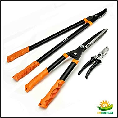 Shenso 3 Piece Combo Garden Tool Set with Lopper, Hedge Shears and Pruner Shears, Tree & Shrub Care Kit,