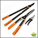 Shenso 3 Piece Combo Garden Tool Set with Lopper, Hedge Shears and Pruner Shears, Tree & Shrub Care Kit