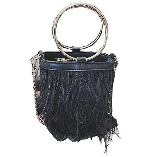 YQDong Women's PU Medium Tassel Fringe Ring Top-Handle Crossbody Bag Hobo Messager Handbags Clutch Purse