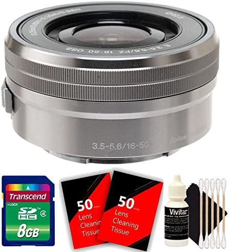 8GB Memory Card 100 Lens Tissue 3pc Cleaning Kit Sony E PZ 16-50mm f//3.5-5.6 OSS Silver Lens