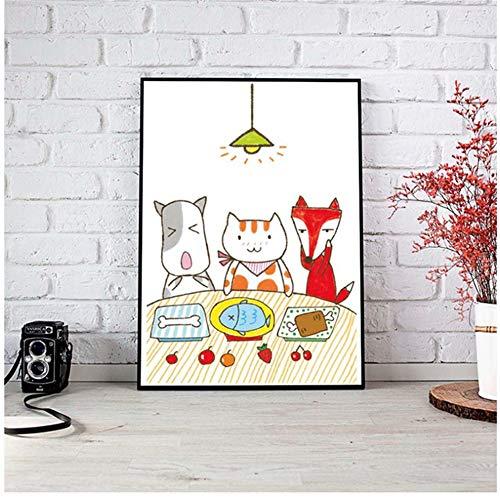 Giclee Cute Cartoon Kitten Dog Fox Mesas de comedor Habitacion infantil Cocina moderna Lienzo decorativo Pintura-60x80 cm / 23.6x 31.5 Sin marco