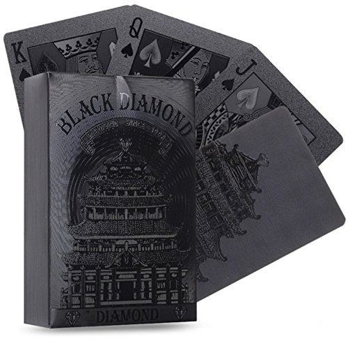 Diamond Black Collection (Poker Cards 54pcs Waterproof Black Plastic Playing Cards Collection Black Diamond Poker Cards Creative Gift Standard Playing Cards)