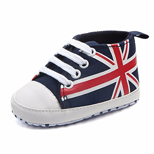 Baby Shoes Miuye Newborn Infant Baby Union Jack Flag Print Canvas Anti-Slip Soft Shoes Sneaker Dark Blue