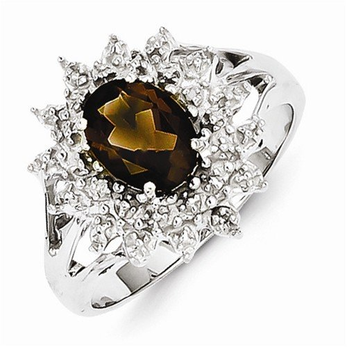 925 Sterling Silver Brown Simulated Smokey Quartz & Diamond Engagement Ring (.01 cttw.) (3mm)
