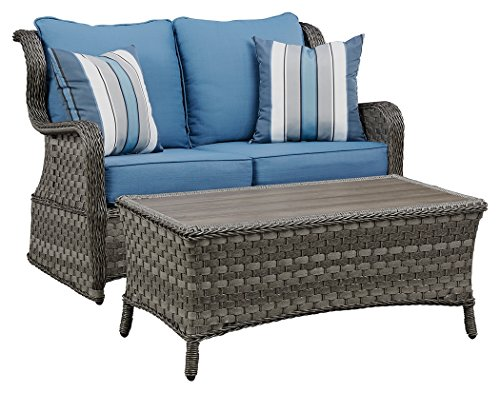 Signature Design by Ashley P360-035 Abbots Court Loveseat with Table, Blue/Gray ()