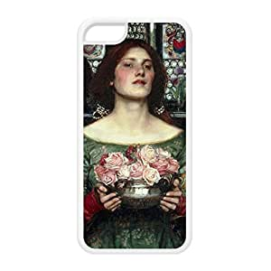 Gather Ye Rosebuds While Ye May by John William Waterhouse White Silicon Rubber Case for iPhone 5C by Painting Masterpieces + FREE Crystal Clear Screen Protector
