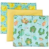 """Dritz 35026 Babyville PUL Waterproof Diaper Fabric 21""""X24"""" Cuts 3/Pkg-Playful Pond & Ducks"""