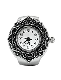 Stylish Flower Dial Pocket Quartz Finger Ring Watches