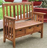 Garden Bench, Outdoor Storage - with Drawers, Hardwood, Natural