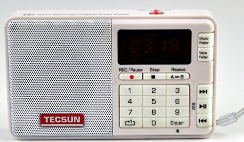 Tescun Q3 Mini Size MP3 Player, FM Radio and Voice/Radio Recorder (White)
