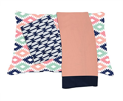 bacati emma aztec 3 piece cotton percale toddler sheet set