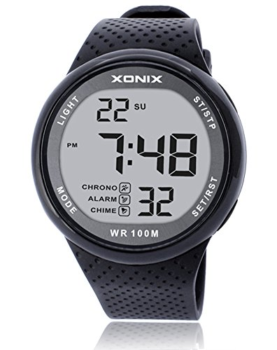 (TOMORO Vogue Men's 100M Waterproof TPU Resin Band Large Digits Digital Dive Outdoor Sports Watch (Can Be Pressed Underwater) (Black&White))