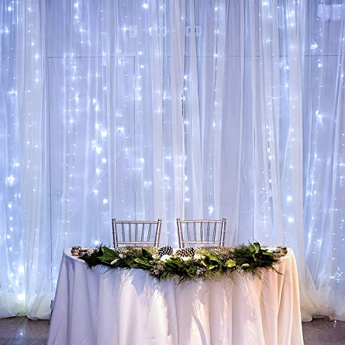 - LE LED Curtain Lights, 19.7x9.8ft, 594 LED, 8 Modes, Plug in Twinkle Lights, Cool White, Indoor Outdoor Decorative Wall Window String Lights for Bedroom, Party, Wedding Backdrop, Patio Décor and More