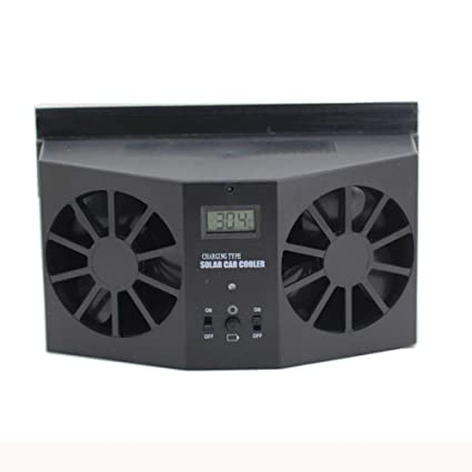 Iusun Solar Powered Car Window Air Vent Ventilator Mini Air Conditioner Cool Fan (Black)