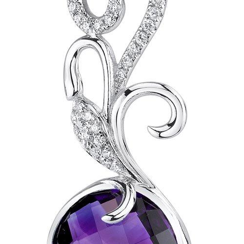 Revoni 14ct or blanc 585/1000 ronde damier Coupe 5 carats Améthyste Pendentif diamant