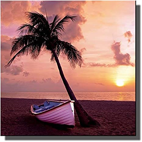 Japanese Warm Sunset Palm Trees Boat On River Wall Art Canvas Pictures