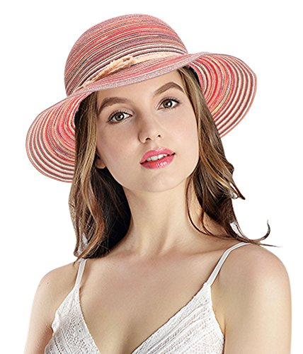 Women's Summer Foldable Floppy Colorful Stripe Straw Hat