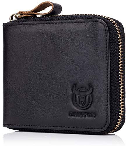 Men's Leather Wallet,RFID Blocking Secure Zip Around Wallet ID Window Bifold Multi Card Holder Purse (Black)