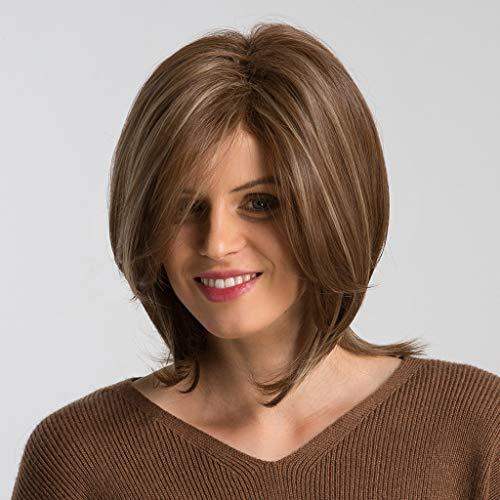 Women's Brown Wigs Natural Medium Short Length Bobo Straight Hair Heat-Resistant Synthetic Fiber (A)