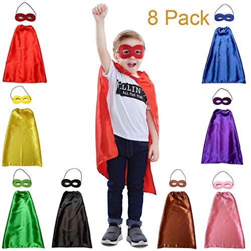 YIISUN Children Dress Up Capes for Kids Cape Costume Birthday Party DIY Capes and Masks(8 Pack)]()