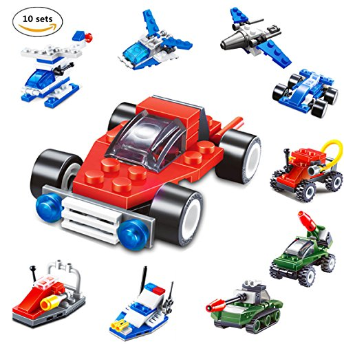 Meyall 10Sets/238pcs Mini Army Minifigures Construction Building Block Sets, Forces Military Vehicles Scaled Army Toy Playsets, 3D Assembly Cars Vehicles STEM Toys For Children Ages - Military Set