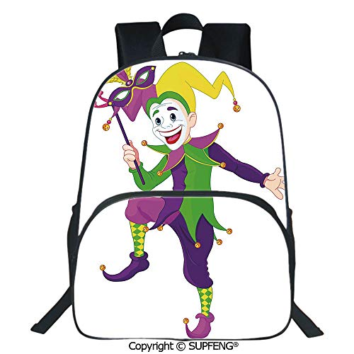 SCOXIXI School Back Cartoon Style Jester in Iconic Costume with Mask Happy Dancing Party Figure (15.75
