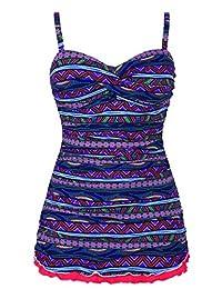 Hilor Women's Retro Drawstring Body Shaping Ruffle Hem One piece Swimsuit Swimdress