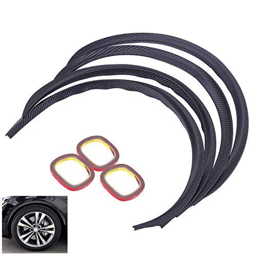- Honhill 4pcs Universal Car Truck Carbon Fiber Rubber Wheel Eyebrow Protector Lip Sticker Trim Fender Flare Anti-scratch