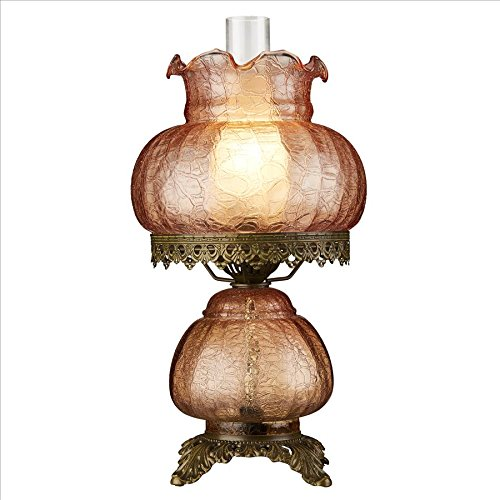 Victorian Oil Lamp - Design Toscano Art Nouveau Rose Court Victorian Style Hurricane Table Lamp, 16 Inch, Tinted Glass, Mauve Pink