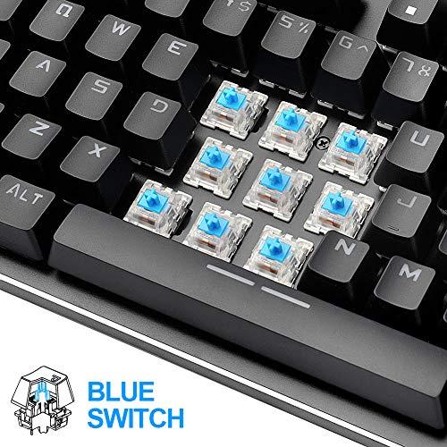 7888cee7db8 Hcman Mechanical Keyboard 87 Key Compact Gaming Keyboard,21 LED Backlit  Modes, Blue Switches