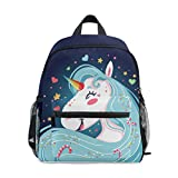 Unicorn Children's Schoolbag Girls Backpack Boys Book Bag for 3-8 Years Old Kids Double Shoulder Navy