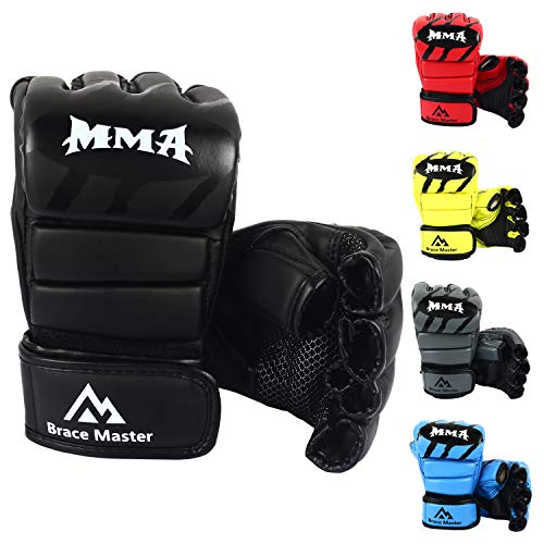 Brace Master Boxing Gloves MMA Gloves for UFC Training Men and Women Leather More Padding Punching Bag Gloves for The Kickboxing, Sparring, Muay Thai Heavy Bag