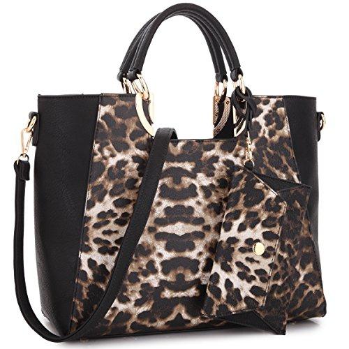 MKP Collection Square Handle Fashion Tote~Designer & Beautiful Woman Satchel/Handbag~Useful Purse (6949) Leopard/Black