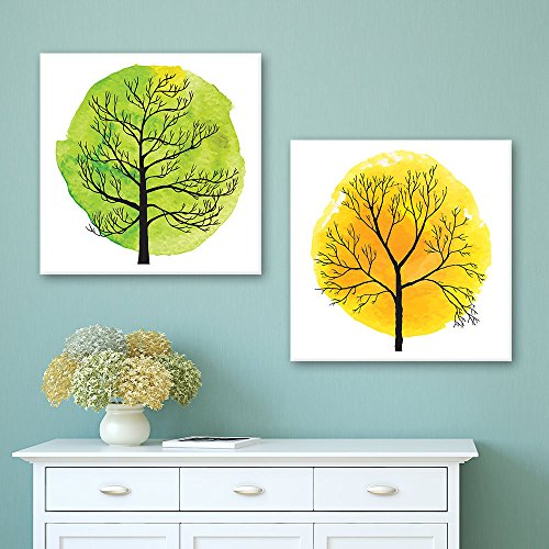 2 Panel Square Abstract Green and Yellow Tree x 2 Panels