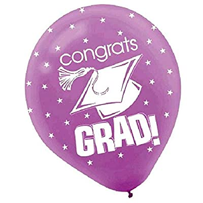 "amscan Congrats Graduation Party Balloon Decoration (Pack of 15), Multicolor, 12"": Toys & Games"